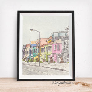 San Francisco, California Street- Candy Colored Houses- Art Giclee Watercolor Print