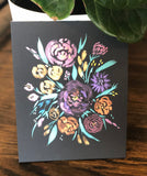"3/24 Day 6 $6 Metallic Florals on Black Paper 8""x 10 Original Watercolor Painting"