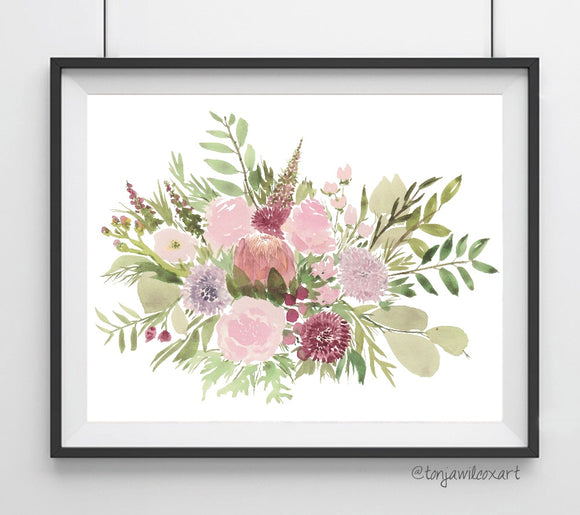 Floral No. 8 Bloom Bouquet Flowers Giclee Art Print