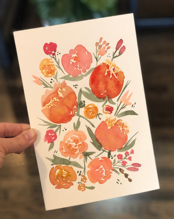 "3/24 Day 6 $6 Orange Peonies 6""x 9"" Original Watercolor Painting"