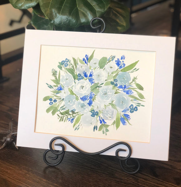 "4/16Day 29 $29 Blue Periwinkle Floral Bouquet- Flowers 8.5 x 11"" Original Watercolor Painting"
