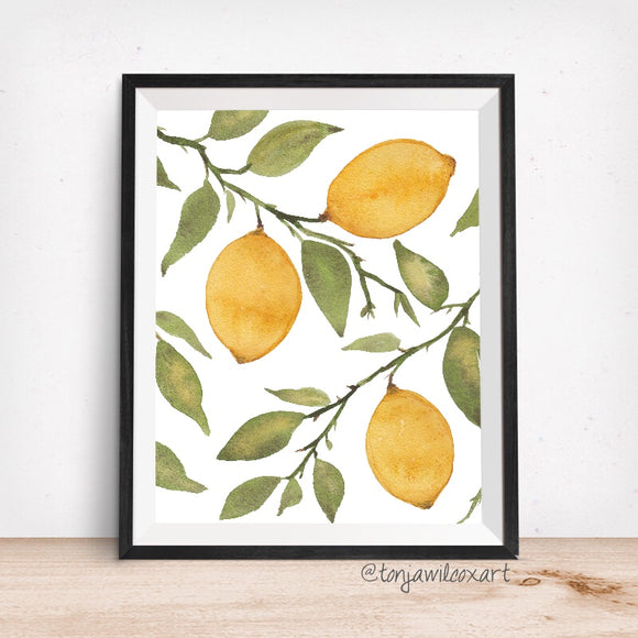 Lemon Trio Citrus Tree with Branches- Giclee Art Print- Kitchen Lemons