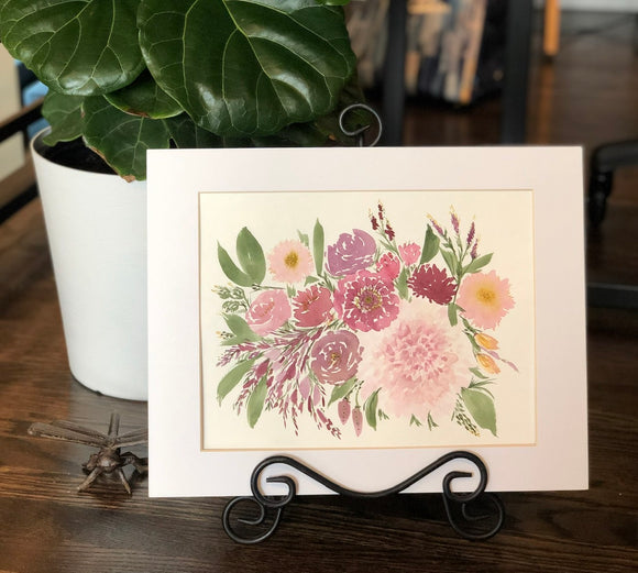 "4/12 Day 25 $25 Pink and burgundy florals flowers 8.5 x 11"" Original Watercolor Painting"