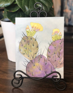 "4/2 Day 15 $15 Purple Prickly Pear 8"" x 10"" Original Watercolor Painting"