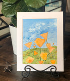 "4/17 Day 30 Final Day $30 California Poppies Poppy Flowers with Blue Sky 8.5 x 11"" Original Watercolor Painting"