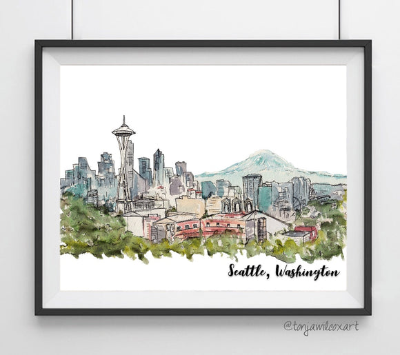 Seattle, Washington Skyline- Space Needle Art Giclee Print