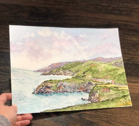 4/4 Day 17 $17 Big Sur Bixby Bridge Hwy 1 Pacific Ocean  8.5 x 11  Original Watercolor Painting