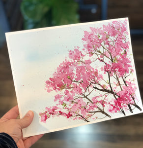 "3/29 Day 11 $11 Pink Magnolia Blossoms 8"" x 10"" Original Watercolor Painting"