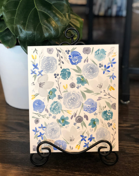"3/28 Day 10 $10 Blue Floral Pattern 8"" x 10"" Original Watercolor Painting"