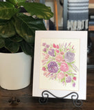"4/10 Day 23 $23 8.5x11"" Pink and Purple Floral Spray- Flowers Original Watercolor Painting"