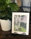 4/8 Day 21 $21 8.5 x11 Moody Night Birch #1 Original Watercolor Painting