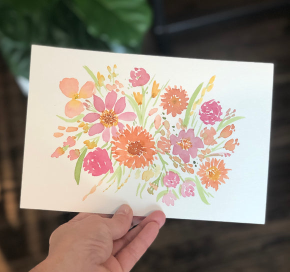 "3/21 Day 3 $3- Mini Floral Spring Bouquet #3 6""x9"" Original Watercolor Painting"