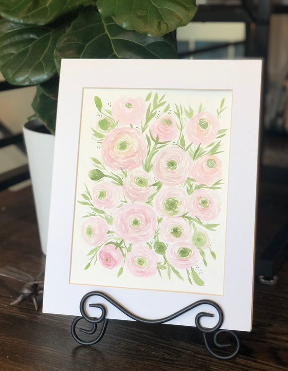 "4/13 Day 26 $26 Soft Pink Ranunculus Flowers 8.5 x 11"" Original Floral Watercolor Painting"