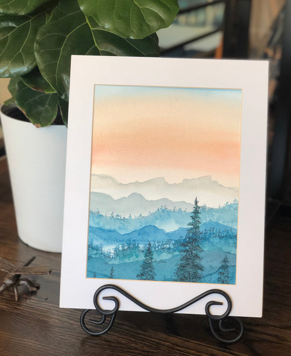 "4/14 Day 27 $27 Misty Mountains at Dusk 8.5 x 11"" Original Watercolor Painting"