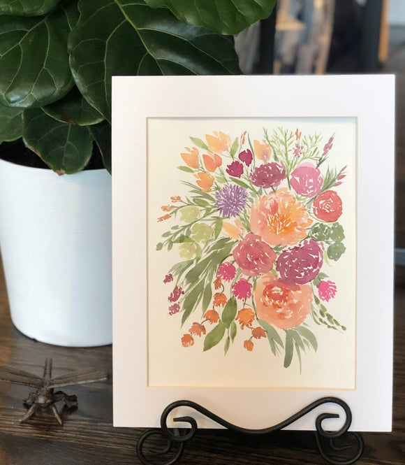 "4/11 Day 24 $24 Peach and Purples Floral Bouquet Flowers 8.5 x 11"" Original Watercolor Painting"