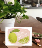 Lime Yours, Citrus Fruit Pun Love Valentine's Day- A2 Greeting Card