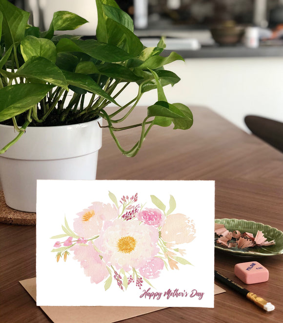 Mother's Day, Pale Pink Peony Bouquet- A2 Greeting Card