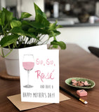 Sip Sip Rose, Mother's Day Wine Glass, A2 Greeting Card