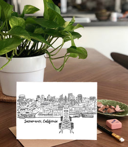 B&W 3D Sacramento Skyline-  A7 Greeting Card/ 5x7 Art Print