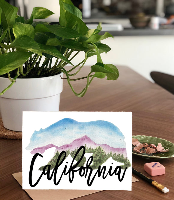 California Landscape inside California Bear Shape  A7 Greeting Card/ 5x7 Art Print