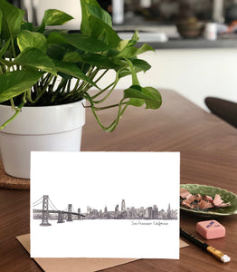 San Francisco, California Skyline- Grayscale A7 Greeting Card/ 5x7 Art Print