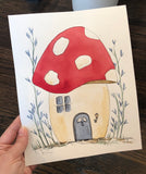 "4/1 Day 14 $14 Whimsical Mushroom House 🍄 🏠 8"" x 10"" Original Watercolor Painting"