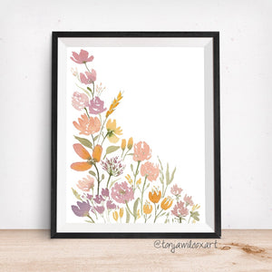 Mixed Floral No. 6 Mauve Gold - Giclee Art Print