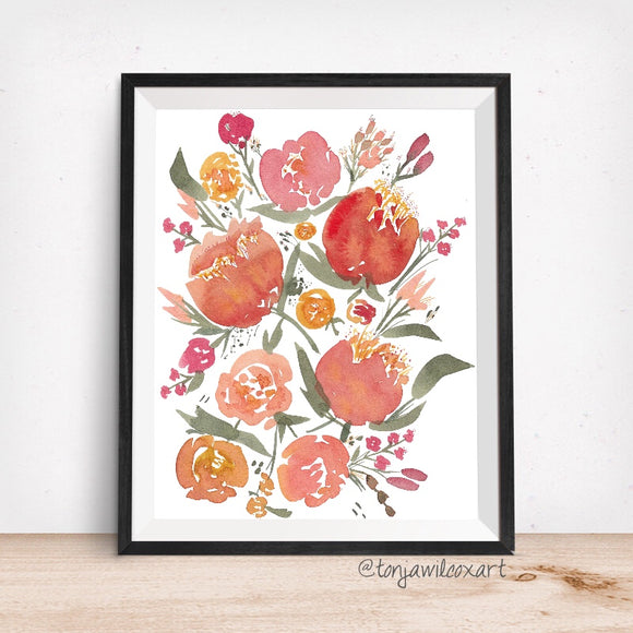 Mixed Floral No. 7 Sunburst Peonies Orange Flowers Giclee Art Print