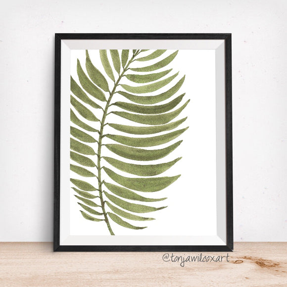 Palm Frond Green Pinnate-Floral Botanical Giclee Art Print