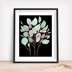 Botanical No. 1  Black Background Vibrant Foliage- Art Print