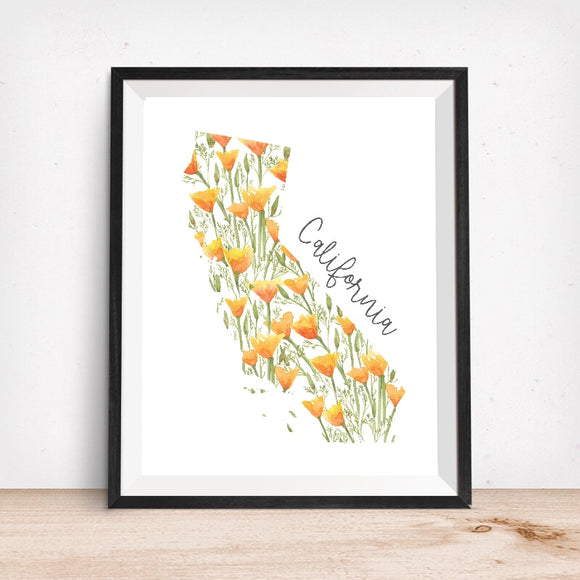 California Map with CA Poppies Art Print