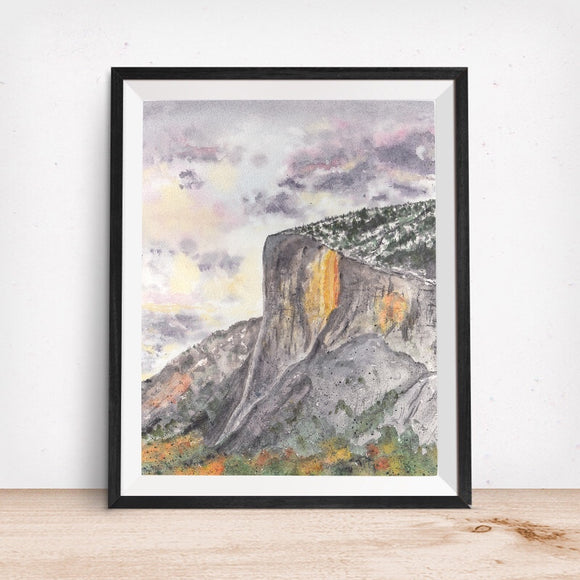 Yosemite Valley, CA- El Capitan Firefall Horsetail Fall- California Landmark Art Print