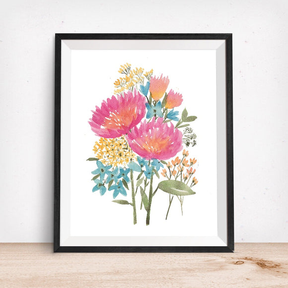 Mixed Floral No. 2 Pink, Blue, Gold- Giclee Art Print