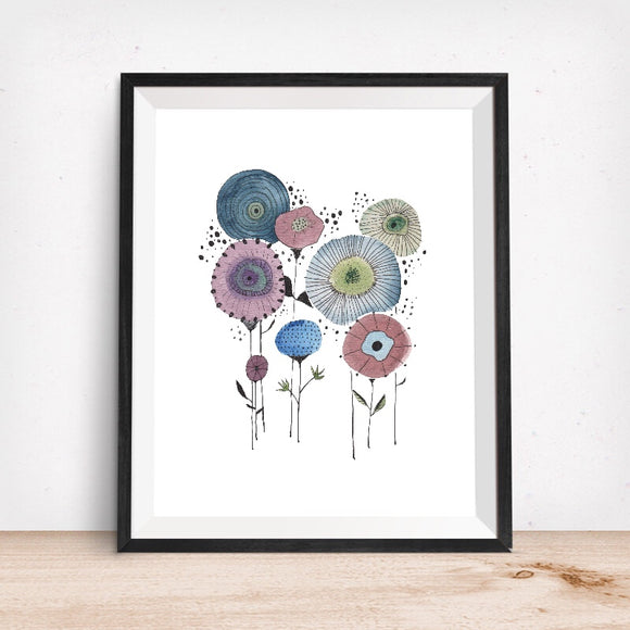 MCM Doodle Flowers- Giclee Art Print