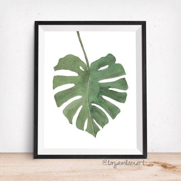 Monstera Deliciosa Plant Leaf- Giclee Art Print- Botanical