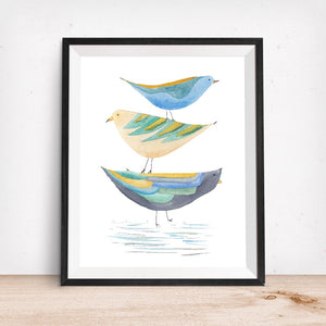 Stack of Birds, 3 Mid Mod Style Birds- Giclee Art Print