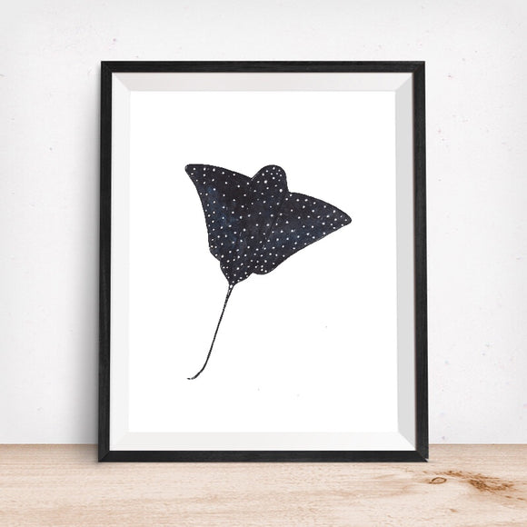 Sealife Series, Stingray Black and Blue- Art Print