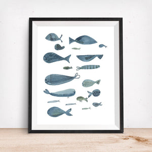 Sealife Series, Swimming Fish-  Giclee Art Print