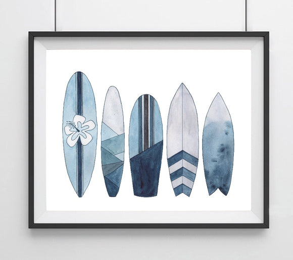 Sealife Series, Blue Surfboards- Art Print