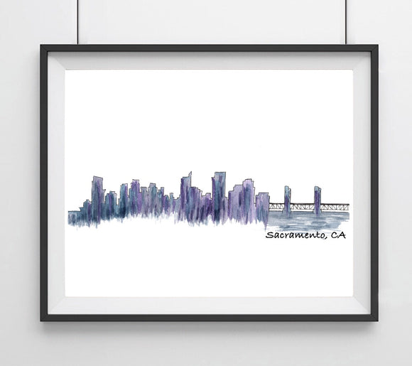 CIty Skyline- Sacramento, CA Blue and Purple Art Print