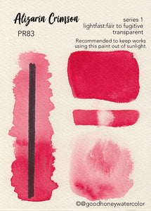 Alizarin Crimson- Good Honey Handmade Artisan Watercolor Paint-Fugitive Red Pure Pigment