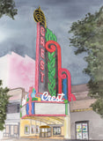 Personalize- The Crest Theater K Street, Sacramento, CA Giclee Art Print - Neon Landmarks