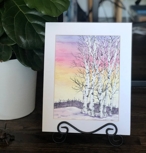"4/15 Day 28 $28 Snowy Birch Trees at Early Sunset 8.5 x 11"" Original Watercolor Painting"