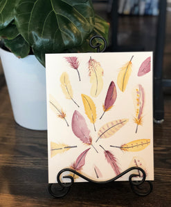 "3/28 Day 10 $10 Maroon and Gold Feather Pattern 8"" x 10"" Original Watercolor Painting"