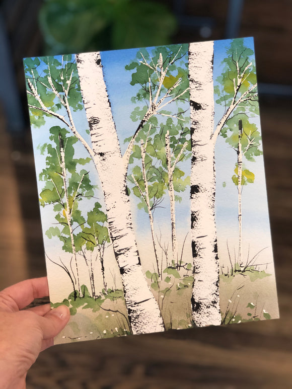 "3/30 Day 12 $12 Twin Birch Trees 8"" x 10"" Original Watercolor Painting"