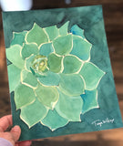 "3/26 Day 8 $8 Teal Succulent 8"" x 10"" Original Watercolor Painting"