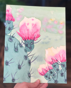 "3/27 Day 9 $9 Prickly Pear  in Bloom 8"" x 10"" Original Watercolor Painting"