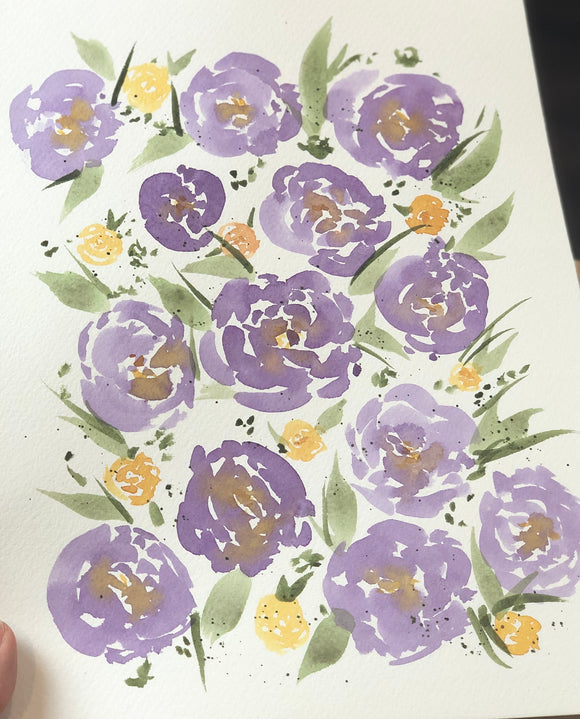 "3/25 Day 7 $7 Purple and Gold Florals 9"" x 12"" Original Watercolor Painting"