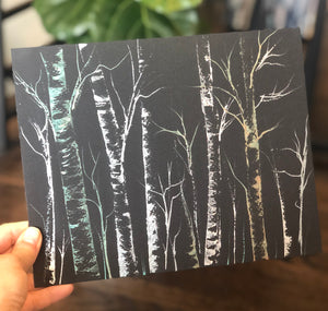 "3/31 Day 13 $13 Metallic Birch Trees on Black Paper 8"" x 10"" Original Watercolor Painting"