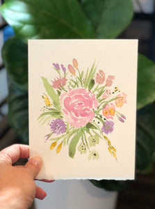 "3/19 Day 1 $1- Mini Floral Bouquet #1 5""x7"" Original Watercolor Painting"
